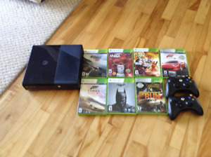 X box 360,2 controllers,7 games