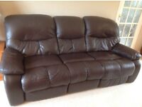 3 Seater Brown Leather Sofa, with 2 Power Reclining Seats.