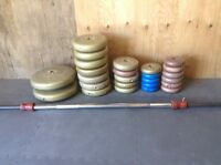 Cement weights and barbell