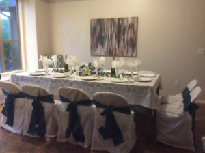 10 white chair covers and 10 teal color tie backs(separately)