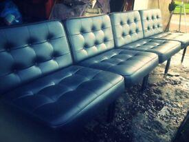 Industrial Black Vinyl Modular Chair