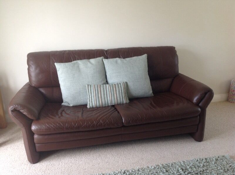 Brown Leather Three Seater Sofa In Pangbourne Berkshire