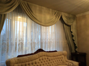 Curtains and ceiling fan