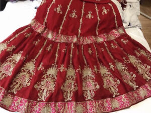Beautyful Bright Red Bridel Lahnga/Wedding dress ,Pakistani