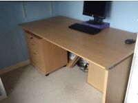 Desk and lockable filing cabinet
