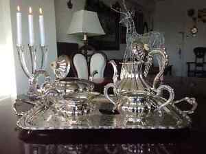 Beautiful silver service tray with tea, coffee, sugar and cream West Island Greater Montréal image 3