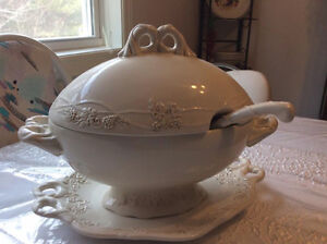 Large Ceramic Soup Tureen with Platter