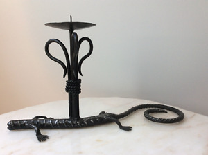 Wrought Iron Lizard Candle Holder Barbados very heavy 2 1/4lbs