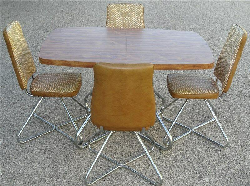 1960s 1970s Brody Dinette Set Vinyl Swivel Chairs * Excellent Original Vinyl
