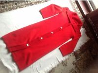 Long ladies coat red colour wool £4 size: M/12