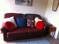 Large real leather sofa & recliner chair