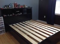 Platform Full/Double Storage Bed with Bookcase Headboard