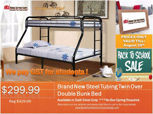 ◆Brand New Steel Tubing Twin-Over-Double Bunk Bed on Sale@NEWD
