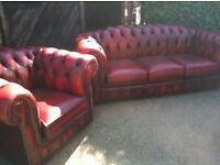 Oxblood red leather chesterfield sofa and club armchair (delivery available)