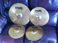 "Set of Paiste Cymbals for drum kit 20"" Ride 16"" crash 14"" Hi-hats top & bottom"
