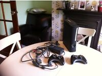 Xbox 360 console controlers game station 120gb HDD