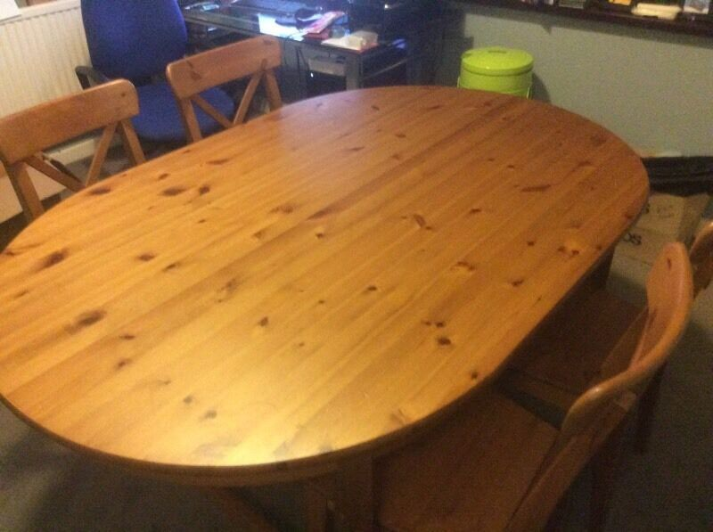 Great oval ikea leksvik dining table with chairs with for Table ovale ikea