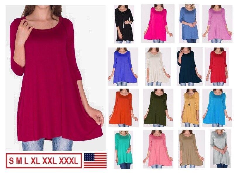 Dress - New Women's Long 3/4 Sleeve Tunic Top Shirt Blouse Dress USA S M L/Plus Size 3XL