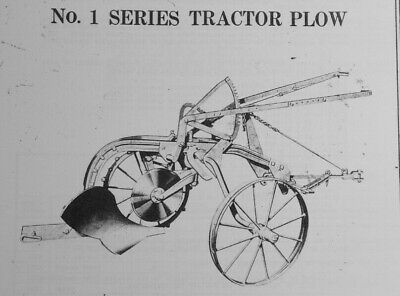 Allis Chalmers No. 1 Series 1 Bottom Trailer Pull Plow Owners Manual Wheel Plow