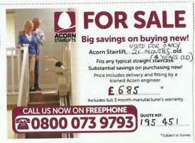 STAIRLIFT. USED ONLY 21 MONTHS. PRICE INCLUDES SURVEY, INSTALLATION & 3 M FULL EXTENDABLE WARRANTY