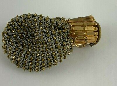 1920s Style Purses, Flapper Bags, Handbags Small gold beaded 3 1/4