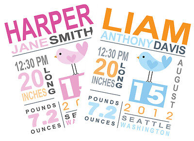 8 X 10 Custom Birth Announcement Print Baby Girl / Boy Nursery Wall Art Decor!