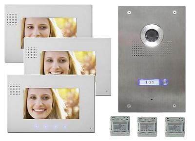 """Video Türsprechanlage Gegensprechanlage 3 X 7"""" Monitor Bildspeicher DVR Funktion"""