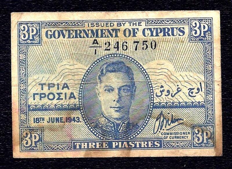Cyprus 3 Piastres 1943  P-28