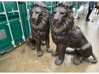 PAIR OF FABULOUS BRONZE LIONS