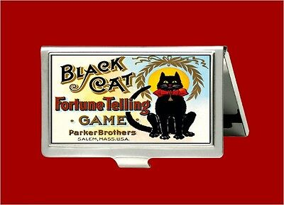 Black Cat Fortune Telling Game Psychic Vintage Id Business Card Holder Case