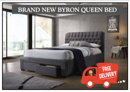 BRAND NEW Designer Queen Bed with Storage - FREE DELIVERY