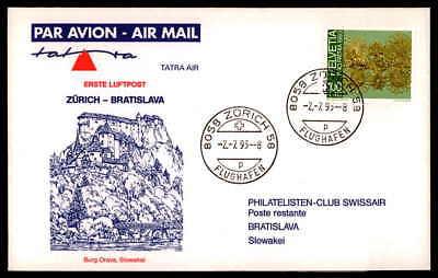 SCHWEIZ FIRST FLIGHT TATRA AIR 1993 ZÜRICH - BRATISLAVA dg90