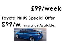 Toyota Prius Hire Rent ONLY £99 per week PCO UBER READY, 24 hours recovery, full service, Insurance