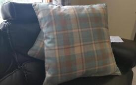4 large grey and duck egg pillows (new)