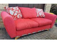 Red fabric designer couch sofa suite