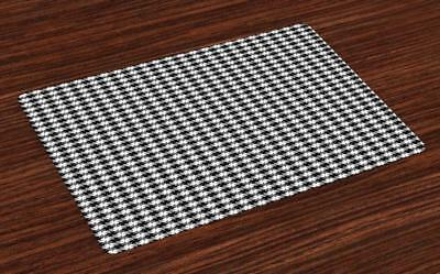 Black and Grey Placemats Set of 4 by Ambesonne Washable Fabr