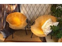 60s Pair of CHAIRS DANISH Suede ARMCHAIR FAUTEUIL Wegner Era True Vintage GOLD
