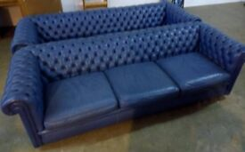 2 Large Blue Chesterfield Settees