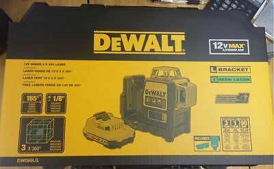 Dewalt Dw089lg 3x 360 Degree Self-leveling Line Laser W Charger Battery Green