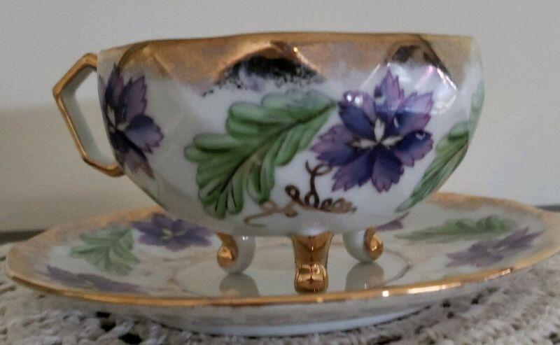 Vintage ~ Footed Teacup & Saucer ~ Floral Design ~ Purple, Green & Gold