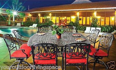 9 piece patio dining set cast aluminum outdoor furniture Elisabeth table seats 8 Cast Aluminum Dining Furniture