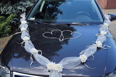 wedding car decoration , ribbon kit , bows, garland wedding flowers white ivory](Wedding Car Decoration)