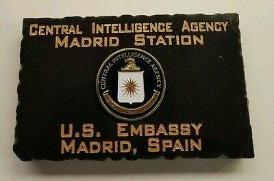 "CIA Station Madrid  US Embassy Madrid Spain Jet Black Marble Desk Plaque 5"" x 3"""