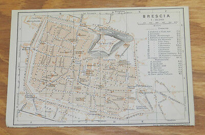 1909 Antique COLOR Road Map of BRESCIA, ITALY