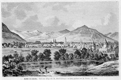 Goslar, Gesamtansicht, Original-Holzstich  von 1881