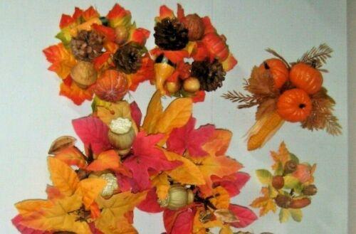 🍂 5 Vintage Fall Leaf Thanksgiving Pumpkin Corn Candle Ring Wreath DIY Pick LOT