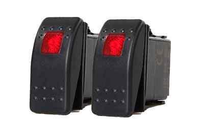 2 Pcs Marine Boat Trailer Rv Rocker Switch On-off Spst 3 Pin 1 Red Led Auto