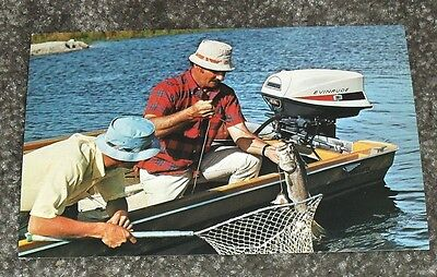 Cool Evinrude Outboard Motorboat with Men Fishing Vintage 1970's Postcard