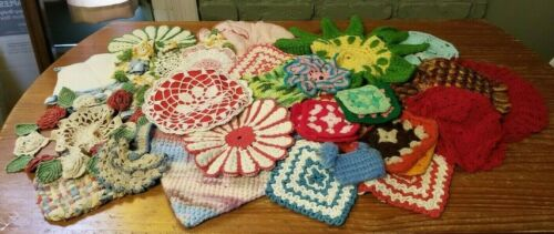 Lot of 36 Vtg Hand Crocheted Pot Holders Hot Pads Doilies Trivets Quilt Squares