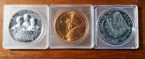 Lot of 3 Apollo 11 Commemorative Medals (LB-211)